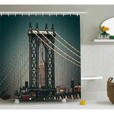 Katarina Scenery City Lights Landscape View With Bridge Empire State Building Skyscrapes Picture Shower Curtain Size: 69 W x 70 H