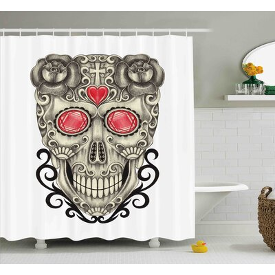 Deena Day of The Dead Gothic Love Themed Skull Head With Hearts and Oriental Details Shower Curtain Size: 69 W x 70 H