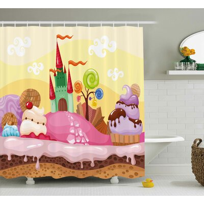Ivy Cartoon Kids Sweet Castle Landscape With Donuts Muffins Ice Cream Nursery Image Shower Curtain Size: 69 W x 70 H