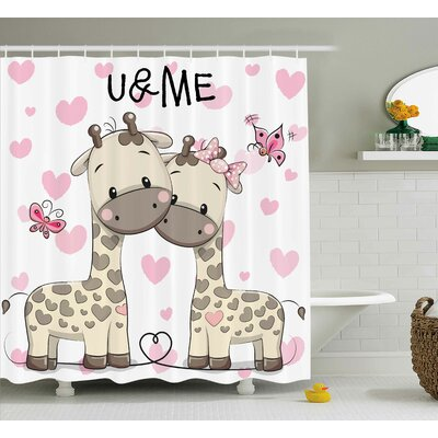 Jamie Kids Cute Giraffes Baby Shower Curtain Size: 69 W x 70 H