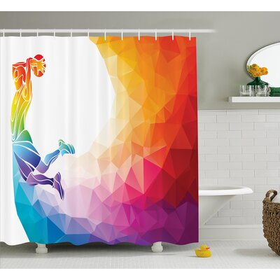 Kara Rainbow Colored Theme With a Basketball Player Sports Man Jumps Print Shower Curtain Size: 69 W x 70 H