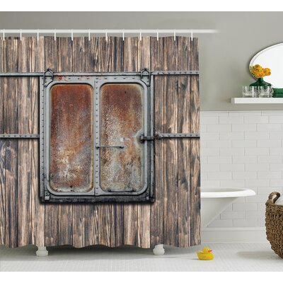 Yusuf Rustic Wooden Tree Planks With Old Rusty Two Angled Metal Boat Door Artwork Shower Curtain Size: 69 W x 70 H