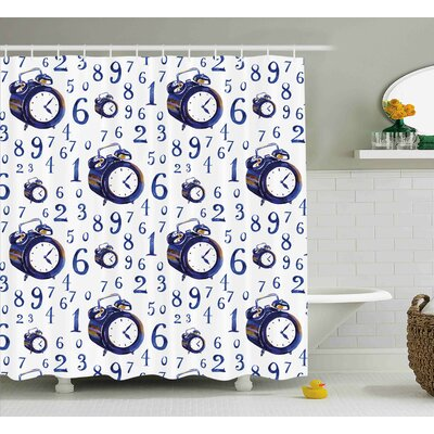 Angelita Watercolor Style Effect An Alarm Clock Illustration Caligraphic Numbers Shower Curtain Size: 69 W x 70 H