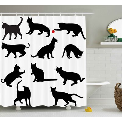 Therese Cat Silhouette of Kittens Shower Curtain Size: 69 W x 70 H