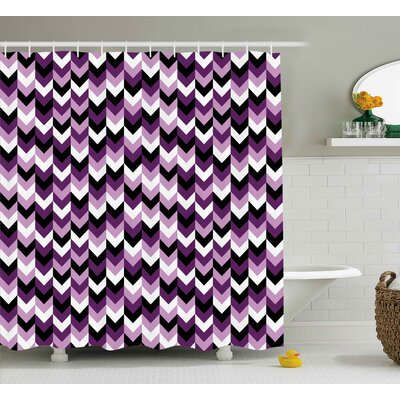 Tora Chevron Zig Zag Arrows Geometric Symmetric Pattern Retro Stylized Old Design Shower Curtain Size: 69 W x 70 H