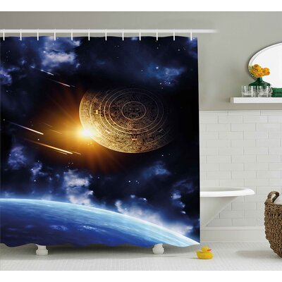 Jeffrey Maya Calendar With Outer Space Background With Earth Mystical Astral Meteor View Shower Curtain Size: 69 W x 70 H
