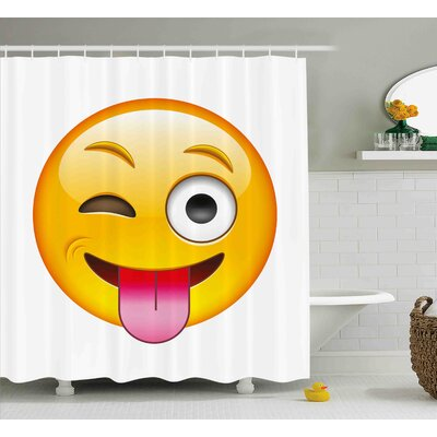 Rebecca Emoji Cartoon Like Technologic Smiley Flirty Sarcastic Happy Face With Tongue Modern Print Shower Curtain Size: 69 W x 70 H