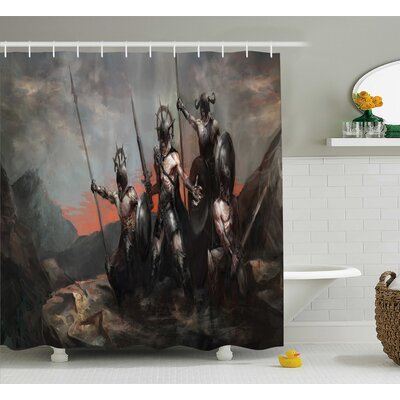 Fantasy World Medieval General Soldier Leading His Army Weapons Shower Curtain Size: 69 W x 70 H