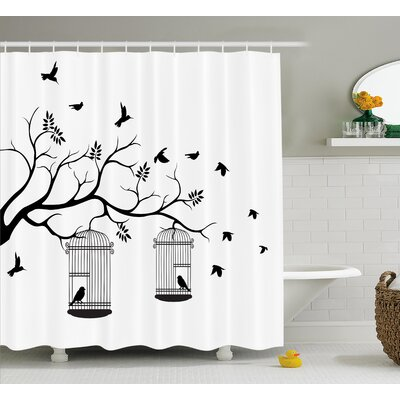 Watts Modern Romantic Themed Decor Birds Cages Branches Leaves Art Print Shower Curtain Size: 69 W x 75 H