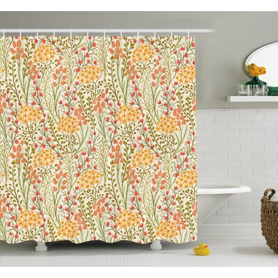 Zosia Leaves Flowers Old Vintage Ivy Design With Plants Nature Theme Art Print Shower Curtain Size: 69
