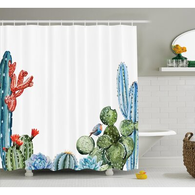 Saratoga Cactus Spikes Flowers With Birds Cartoon Vintage Like Colored Artwork Shower Curtain Size: 69