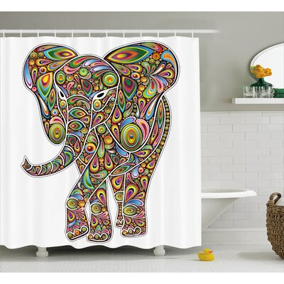 Grace Indian Elephant Figure With Trippy Patterns Boho Art Savannah Animal Illustration Shower Curtain Size: 69 W x 75 H
