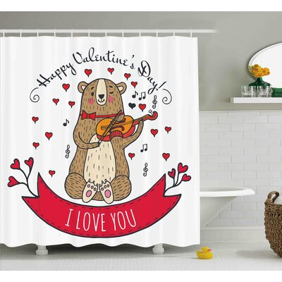 Valentines Day Teddy Bear With Violin Made With Love Romantic Music Notes Heart I Love You Shower Curtain Size: 69