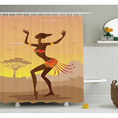 Haitham Ethnic Lady In Ritual Dance Person Shower Curtain Size: 69 W x 70 H