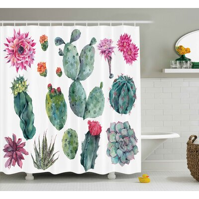 Elijah Nature Desert Botanic Herbal Cartoon Like Cactus Plant Flower With Spikes Print Shower Curtain Size: 69 W x 70 H