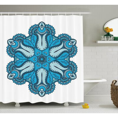 Dolores Mandala Old Mehndi Artisan Occult Power Symbol With Tulip Petal and Crescent Moons Design Shower Curtain Size: 69 W x 70 H