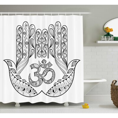 Stefanie Hamsa Praying Hands Floral Paisley Mandala Religious Ohm Sign Evil Eyes Protection Shower Curtain Size: 69 W x 70 H