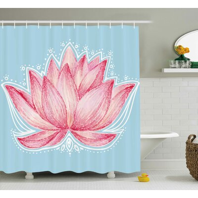 Lee Lotus Gardening Theme Illustration of a Lotus Flower Pattern Decorative Design Shower Curtain Size: 69 W x 70 H