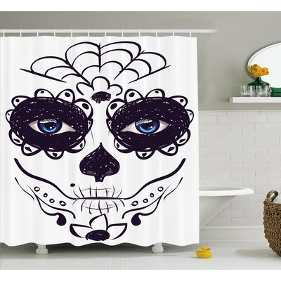 Lorie Day of The Dead Dia De Los Muertos Sugar Skull Girl Face With Mask Make Up Shower Curtain Size: 69 W x 70 H