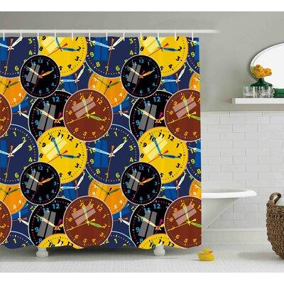 Bridgett Pattern With Clock Faces on It Vintage Illustration Decorative Design Shower Curtain Size: 69 W x 70 H