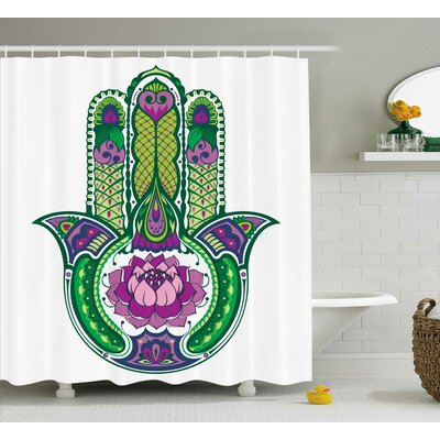 Jameson Hamsa Natural Ancient Sacred Hand With Lotus Flowers Palms Tribe Graphic Print Shower Curtain Size: 69 W x 70 H