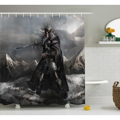 Fantasy World Dead Skeleton Soldier Skull War Area Holding Sword Against Enemy Winter Theme Shower Curtain Size: 69 W x 70 H