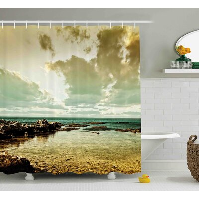 Wilda Landscape Island Scenery Near Ocean Sea With Clouds Puddle Stones Gloomy Air Photo Shower Curtain Size: 69 W x 70 H