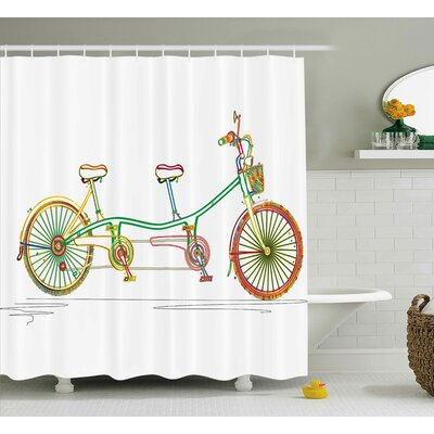 Laurie Ative Colorful Tandem Bicycle Design on White Background Pattern Clipart Style Print Shower Curtain Size: 69 W x 70 H