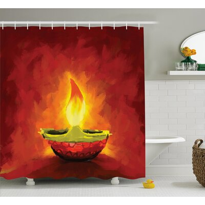 Wolfe Diwali Oil Painting Image Candle For Diwali Religious Festive Celebration Indian Day Print Shower Curtain Size: 69 W x 70 H