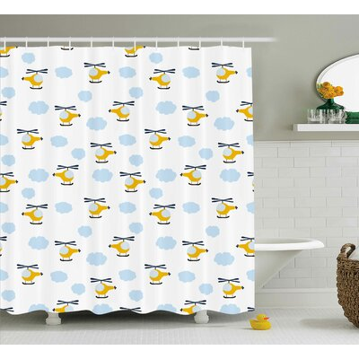 Ernest Kids Cute Aircraft Shower Curtain Size: 69 W x 84 H