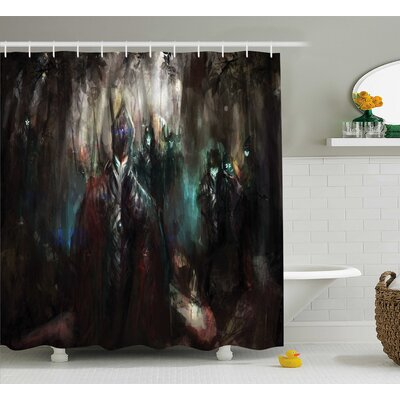 Fantasy World Cybernetics Army Deep Forest Futuristic Artificial Evil Fighters Image Shower Curtain Size: 69 W x 70 H
