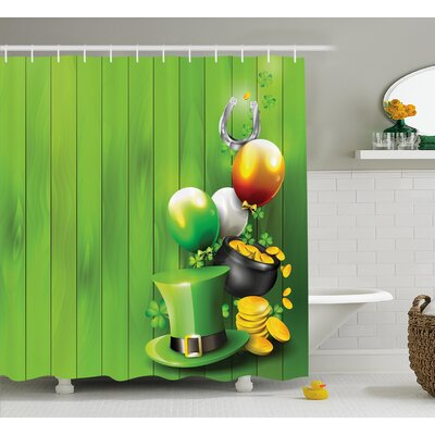 St. PatrickS Day Wood Design With Shamrock Lucky Clovers Pot of Gold Coins and Horse Shoe Shower Curtain Size: 69 W x 70 H