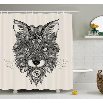 Aulander Sharp Eyed Fox Portrait Ethnic Mask Celtic Animal Pattern Decor Asian Image Shower Curtain Size: 69 W x 75 H