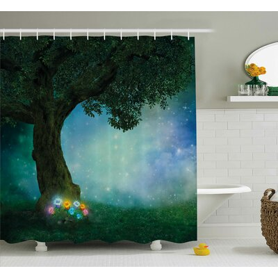Marguerite Forest Fairytale Little Red Riding Hood Forest At Night With Flowers and Stars Image Shower Curtain Size: 69 W x 70 H