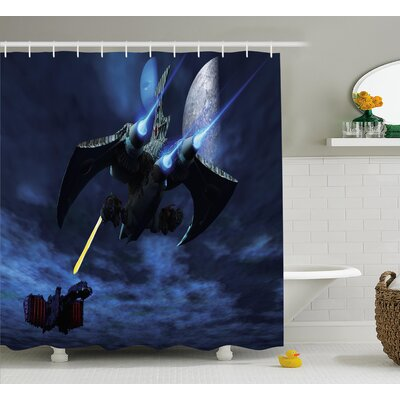 Eve a Lighter and Spaceship Blasts a Laser Beam An Enemy Battleship Galaxy Wars Pattern Shower Curtain Size: 69 W x 70 H