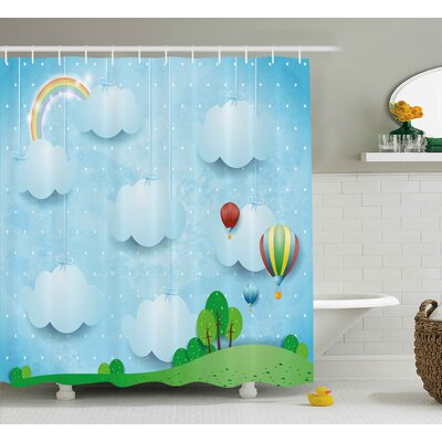 Earnest Kids Boys Girls Nursery Room Decor With Balloons Clouds Stars on The Hillls Cartoon Shower Curtain Size: 69 W x 70 H