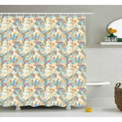 Barney Shabby Elegance Vintage Garden Spring Season Seamless Image Flowers Leaves Image Shower Curtain Size: 69 W x 70 H