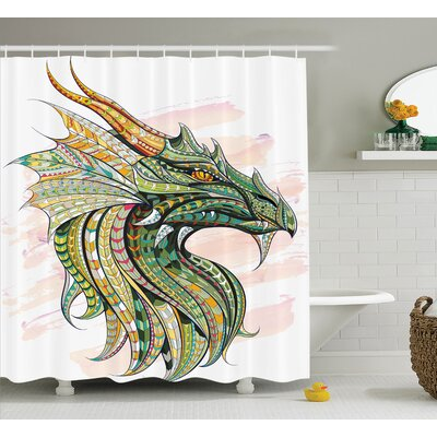 Sara Head of Legend Dragon With Ethnic African Grunge Backdrop Myth Celtic Art Design Shower Curtain Size: 69 W x 75 H