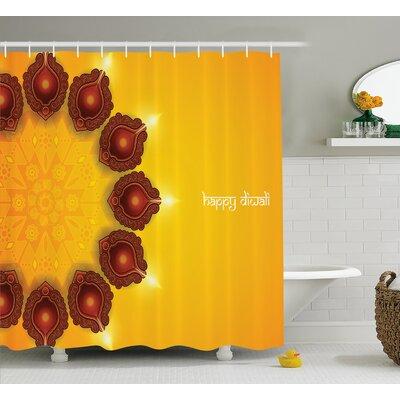 Hardin Diwali Indian Religious Festive Celebration With Paisley Religious Festive Candles Print Shower Curtain Size: 69 W x 70 H