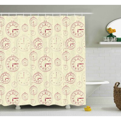 Polly Vintage Watches With Roman Digits Wallpaper Pattern Decorative Illustration Shower Curtain Size: 69 W x 75 H
