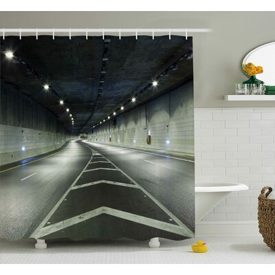 Geraldine Landscape Interior Urban Tunnel Traffic Empty Road Highway Citylights Photo Shower Curtain Size: 69 W x 84 H