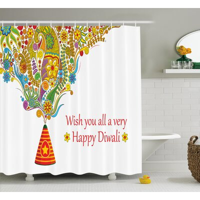Marjane Diwali Indian Festive Religious Celebration Cone With Star Spraying Paisley Print Shower Curtain Size: 69 W x 70 H