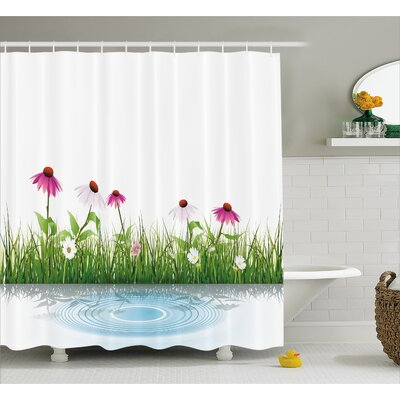 Traci Coneflower By The Lake Water Sea Fall Hand Drawn Horizontal Print Shower Curtain Size: 69 W x 75 H