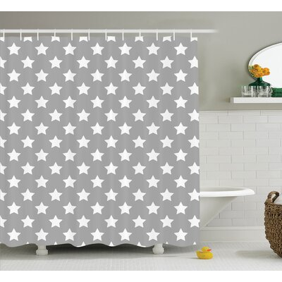 Amy Big Stars Pattern Monochrome Artful Modern Baby Nursery Starry Night Themed Shower Curtain Size: 69 W x 70 H