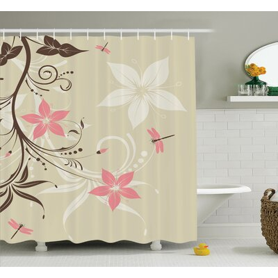 Lois Country Flowers With Dragonflies and Spiral Fashioned Foliage Bud Elements Artsy Print Shower Curtain Size: 69 W x 75 H