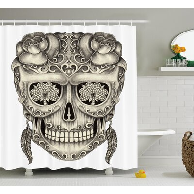 Xavia Day of The Dead Spanish Sugar Skull With Floral Accessories and Feather Earrings Shower Curtain Size: 69 W x 70 H