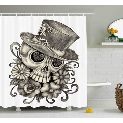 Willia Day of The Dead Sketchy Mexican Spanish Festive Celebration Skull Head Flowers Shower Curtain Size: 69 W x 70 H