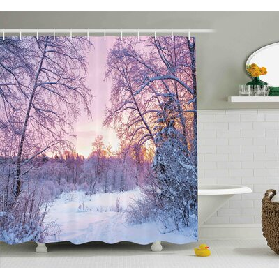 Stacy Landscape Winter Season Themed Dried Abandoned Braches Snowy Sunset Scenery Image Shower Curtain Size: 69 W x 70 H
