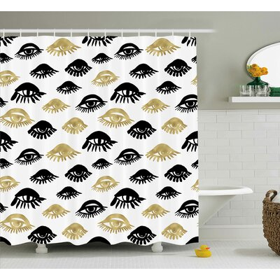 Karlson Trippy Trendy Woman Eyes With Eyelash Unusual Style Fashion Icon Modern Design Shower Curtain Size: 69 W x 70 H