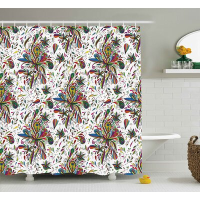 Tasha Colorful Decorations Theme Bright Ethnic Pattern With Floral Ornament Print Shower Curtain Size: 69 W x 70 H